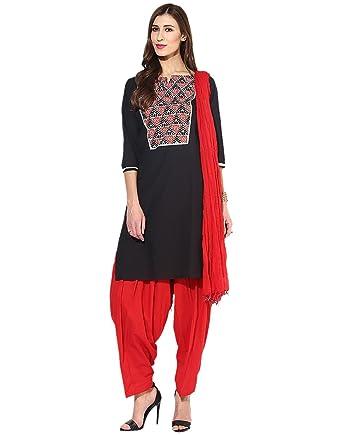 3d6525bf64 Jaipur Kurti Pure Cotton Complete Set of Black Kurta and Red Patiala Dupatta (JKPTD2645_Black_X-