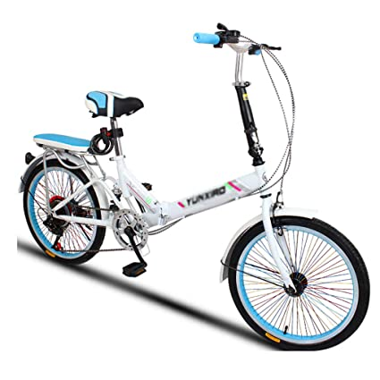 Paseo Bicicleta Plegable Bicicleta Universal Plegable Bicicleta para Mujer, 6 velocidades, 20 Pulgadas,
