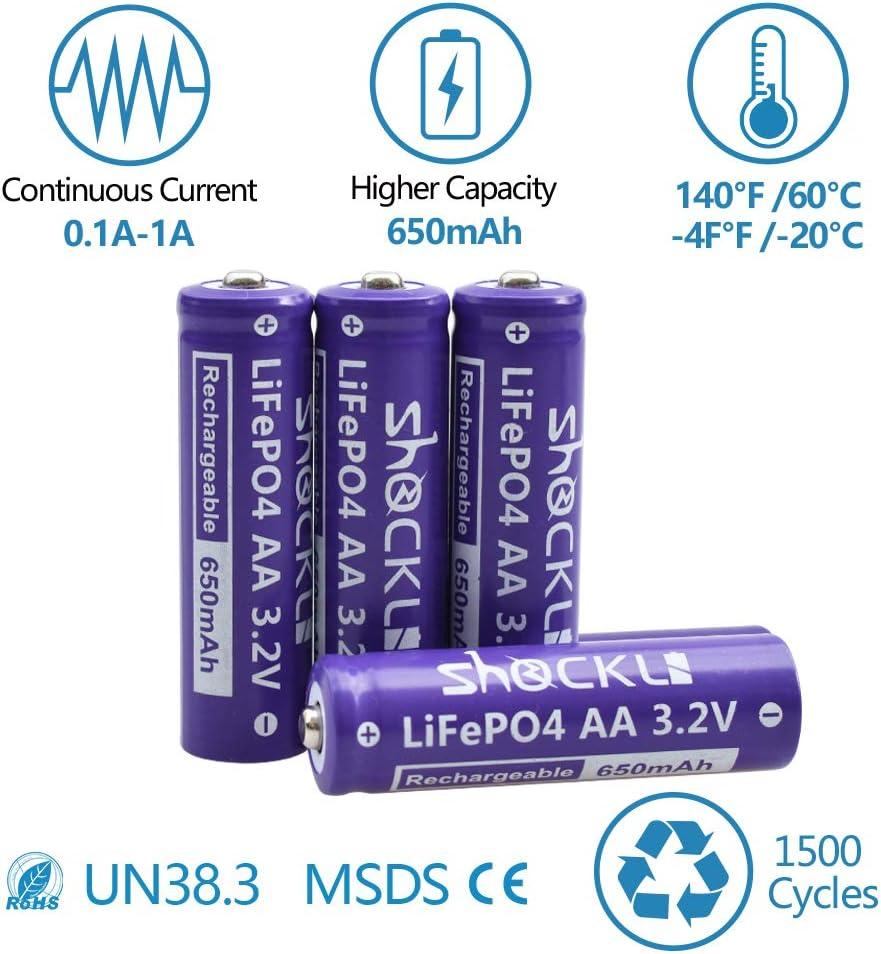 Amazon.com: Shockli - Pilas solares recargables AA LiFePo4 ...
