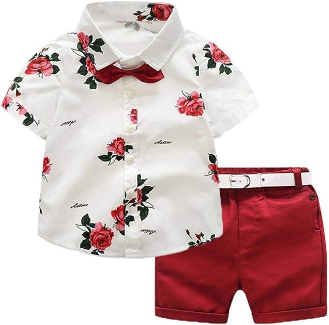 LENGIMA Conjunto de 2 Piezas para niño pequeño Floral Camisa roja + Shorts Verano: Amazon.es: Ropa y accesorios