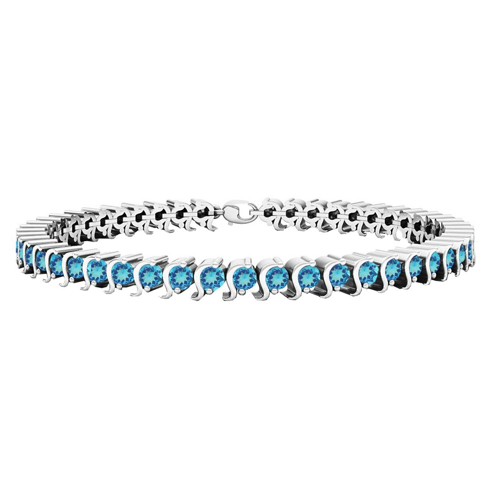 Dazzlingrock Collection 3.45 Carat ctw Sterling Silver Round Blue Topaz Ladies Tennis Bracelet