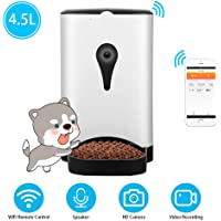 UUNITONA Alimentador automático para Perros y Gatos - Control WiFi - Temporizador de Cámara HD Programable Soporta Grabación de Video por Voz - Compatible con el Sistema iOS/Android