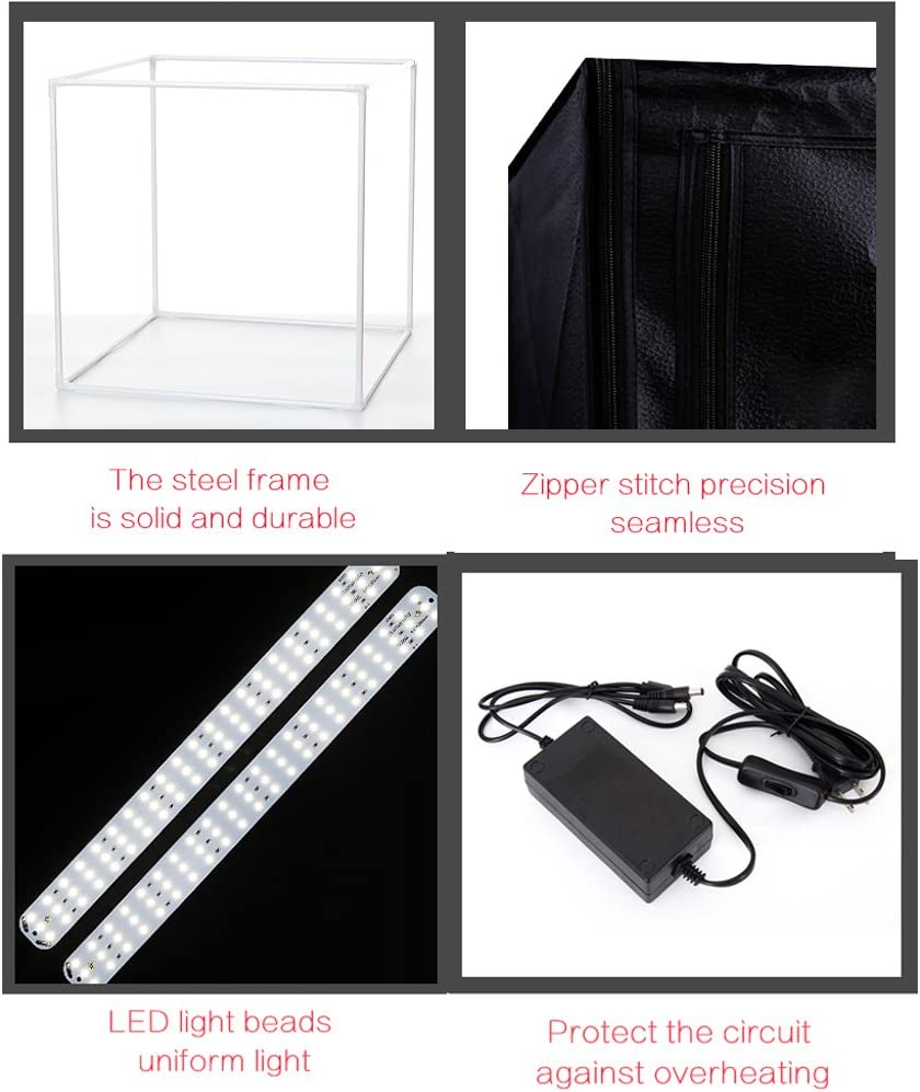 5500K Daylight 3 Backdrops TRUMAGINE 24 Dimmable Foldable LED Light Box Portable Photo Photography Studio Shooting Tent Kit with 4 Shooting Views 2 Dimmable Light Bands