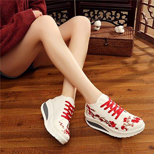 ... Avacostume Kvinners Plomme Broderi Plattform Uformell Sneaker Sko Beige