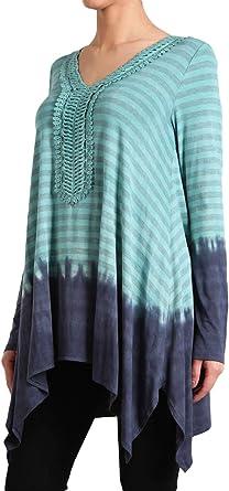 HEYHUN Womens Layered Ruffled Longsleeve Knit Top