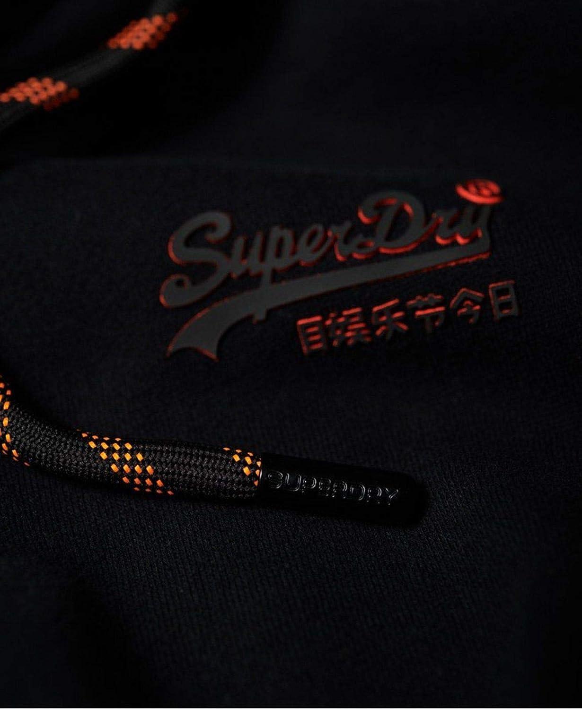 Black Superdry Mens Orange Label Urban Zip Hoodie