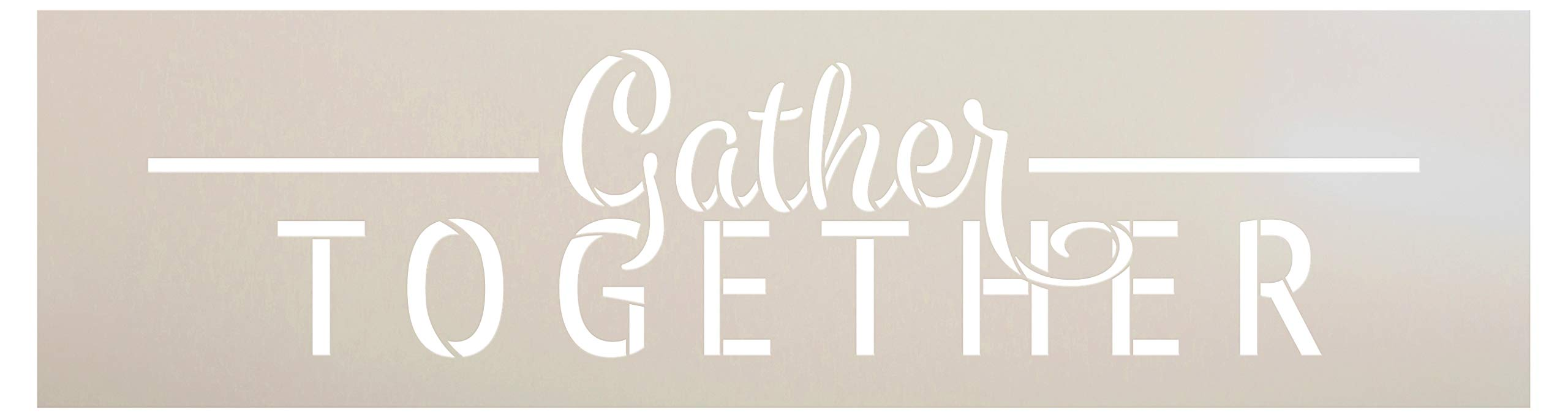 Gather Together Fall Stencil by StudioR12   Wood Signs   Word Art Reusable   Family Dining Room   Painting Chalk Mixed Media Multi-Media   Use for Journaling, DIY Home - Choose (30'' x 8'')