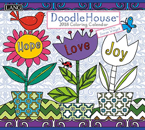 "LANG - 2018 ""Coloring"" Wall Calendar - ""Doodle House"", Artwork by Susan Winget - 12 Month, Open Size 13.4"" X 24"""