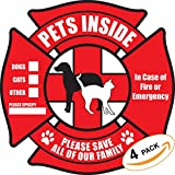 Kyпить PETSAVERS Pet Inside Sticker Static Cling Rescue Window Decals with Bonus Pet Saver Wallet Card No Adhesive, Red, 4 Count на Amazon.com
