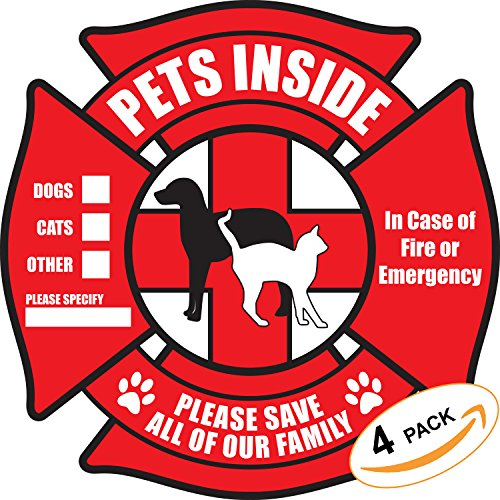 (PETSAVERS Pet Inside Sticker Static Cling Rescue Window Decals with Bonus Pet Saver Wallet Card No Adhesive, Red, 4 Count )