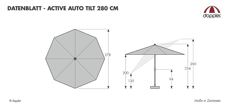 Ideale per terrazze e Giardini Doppler Active Auto Tilt 280 Pieghevole ca.280 cm- Naturale Ombrellone a manovella
