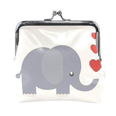 Amazon.com: Happy Elephant con corazón, monedero para mujer ...