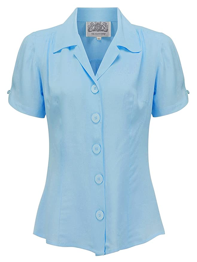 Rosie the Riveter Costume & Outfit Ideas 1940s Vintage Grace Blouse in Powder Blue by The Seamstress of Bloomsbury £39.00 AT vintagedancer.com