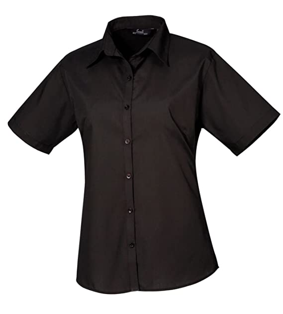d1dbc7659 Premier Ladies Short Sleeve Poplin Blouse Fitted Office Workwear Business  Shirt: Amazon.co.uk: Clothing