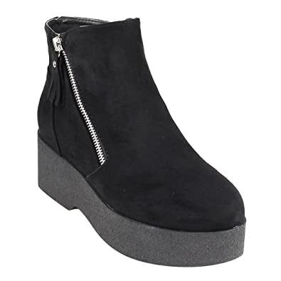 EJ24 Women's Fashion Casual Side Zipper Platform Wedge Ankle Booties