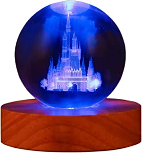 Crystal Ball with Stand - Clear 80mm(3 inch) Glass Ball with Colorful LED Wood Base, Castle Night Lignt for Kids Bedroom Decor Ornament for Children, Girls