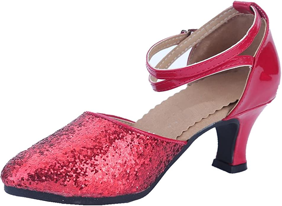 Details about  /OCHENTA Women/'s Sequined Leather Pointed Toe Kitten Heel Latin Ballroom Dance Sh