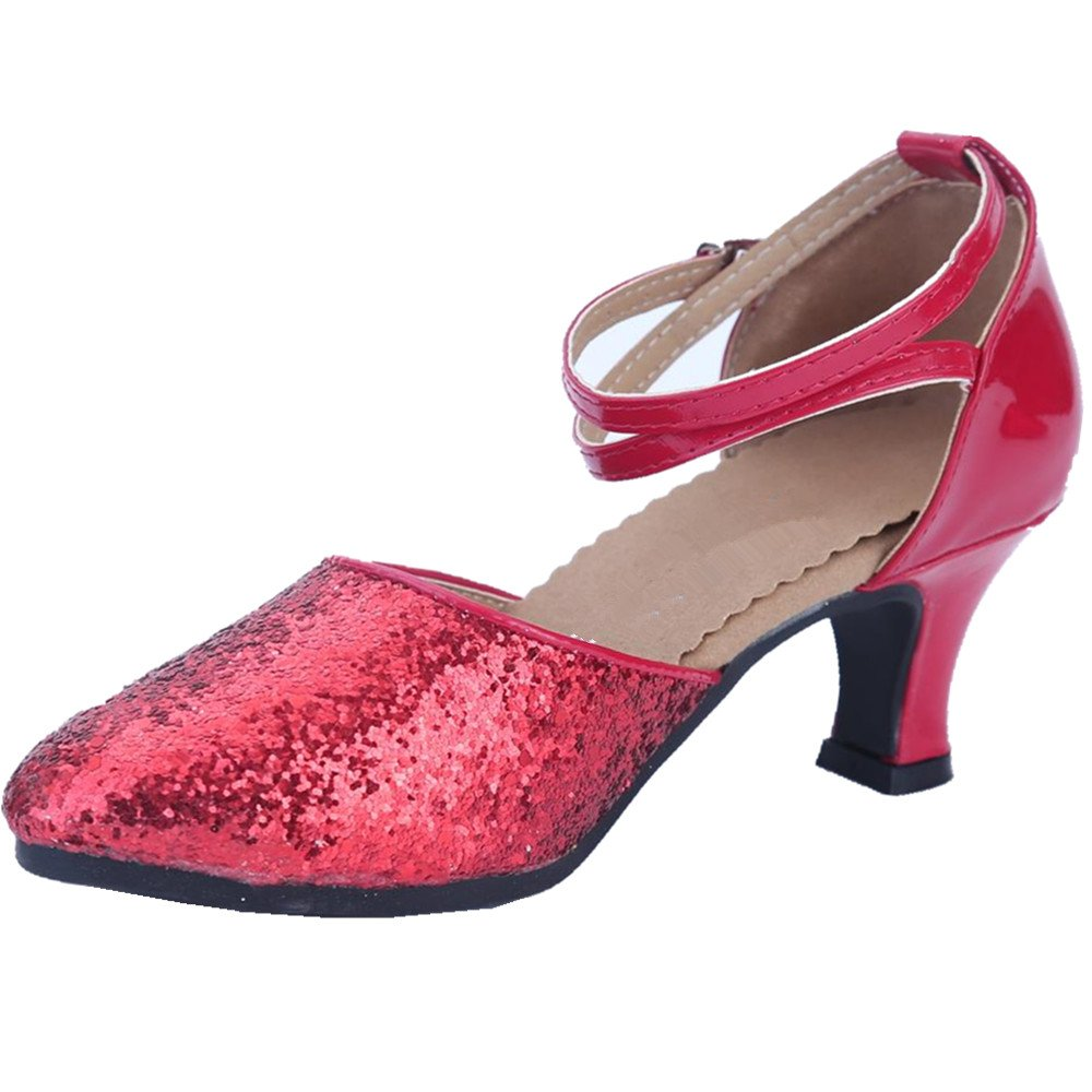 AYMYPL Womens Sequined Leather Pointed Toe Kitten Heel Latin Ballroom Dance Shoes
