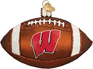 Old World Christmas University of Wisconsin Badgers Glass Blown Ornaments for Christmas Tree Football