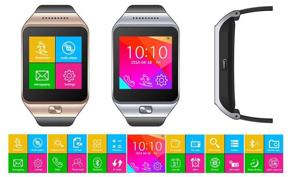 Amazon.com: Indigi® SWAP ONE 2-in-1 SimCard + Bluetooth SmartWatch -UNLOCKED- AT&T T-Mobile (Silver): Cell Phones & Accessories