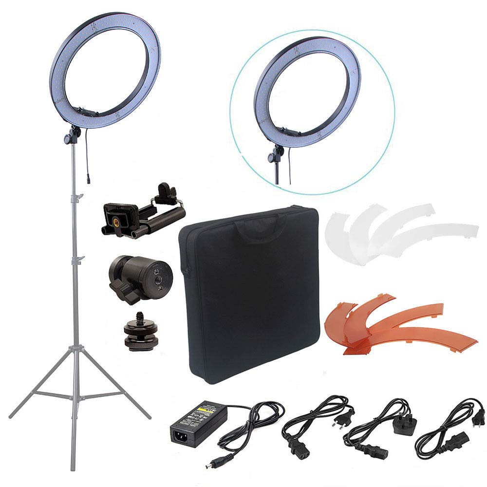 FidgetFidget Light Kit for DSLR Camera 240pcs LED 5500K 18'' Dimmable Photography Photo Ring by FidgetFidget