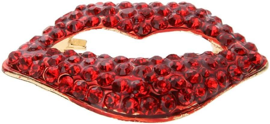 Rouge v/êtement Femmes Bijoux Saint-Valentin Strass Breastpins Cadeaux Slibrat Cristal Strass Broche