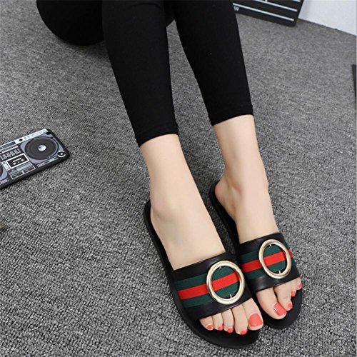 d¨¦contract¨¦s glisser pour femmes d'¨¦t¨¦ avec pour les mots ronde chaussures boucle femmes black pengweiChaussons 0wa4qBa