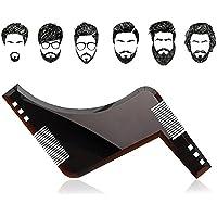 Beard Shaping Tool & comb - Kit de herramientas para hombre Premium Quality Beard Stencil - Beard Comb para líneas y bordes (Negro)