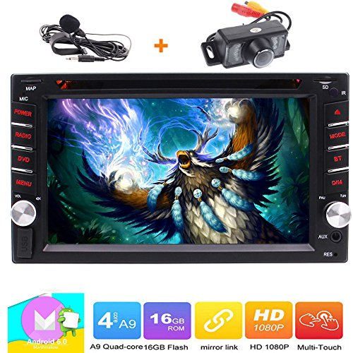 Double 2 Din Head Unit EinCar Android 6.0 Car Stereo with 6.2' Touch Screen Support DVD CD Player GPS Navigation WIFI 4G DVR Bluetooth Autoradio Screen Mirroring FM AM RDS Radio +Rear Camera