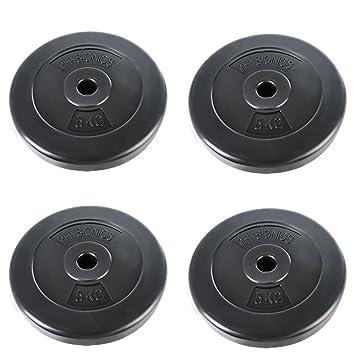 Physionics Barras de mancuerna (roscada, 5 kg por Disco, 20 kg en Total, Agujero de Disco Ø 27 mm, con Revestimiento plástico): Amazon.es: Deportes y aire ...