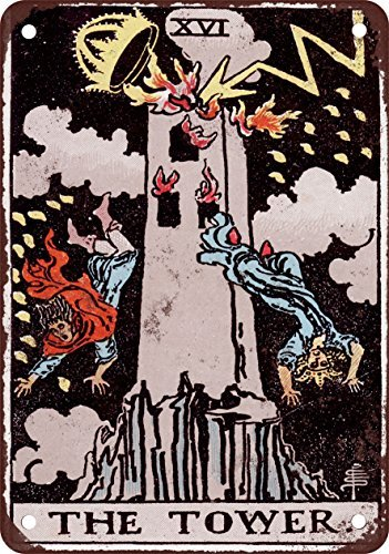 Major Arcana - The Tower Vintage Look Reproduction Metal Tin Sign 12X18 Inches ()