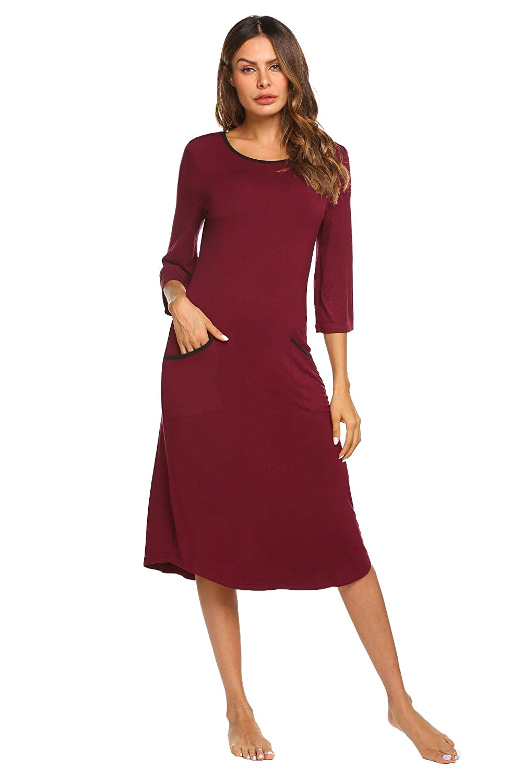 Ekouaer Long Nightgown,Women Loungewear 3/4 Sleeve Sleepwear Midi Length Sleep Shirt with Pockets (S-XXL) KSK009852
