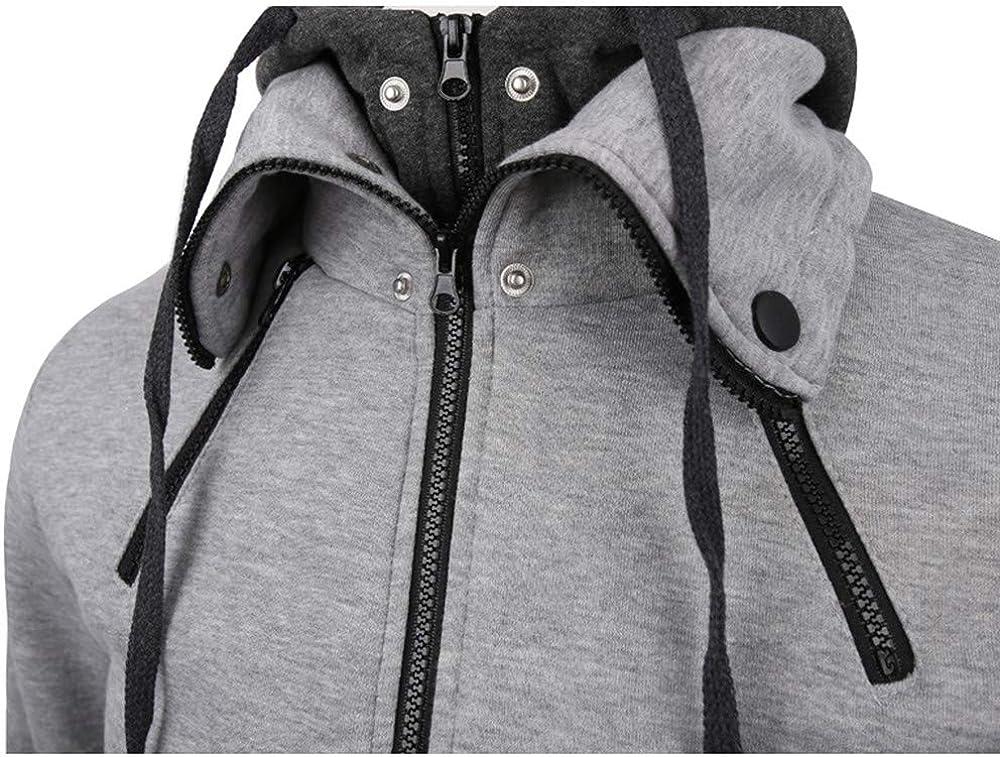 Mens Coat FORUU Autumn Winter Warm Casual Zipper Long Sleeve Hooded Top Blouse Jacket