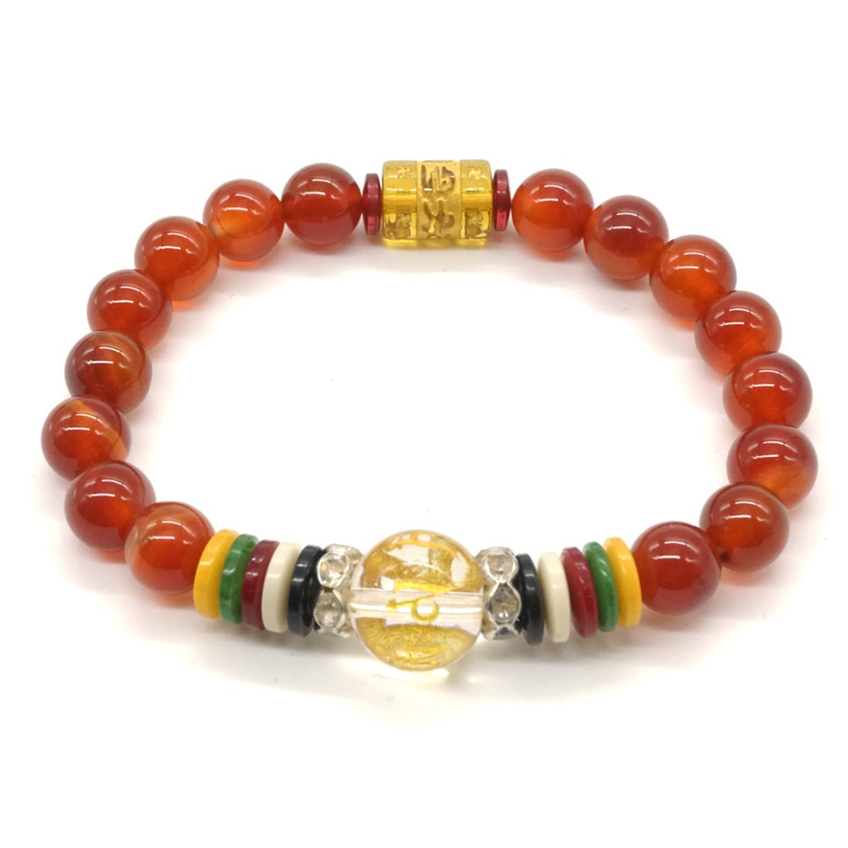 Bracelet en Agate Rouge Yoga Tib/étain Pray Mala Beads Pierre Naturelle Bracelet Bouddhiste en Pierre Chakra