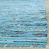 Cotton Rag Rugs Safavieh Rag Rug Collection RAR125C Hand Woven Turquoise and Multi Cotton Area Rug (2' x 3')