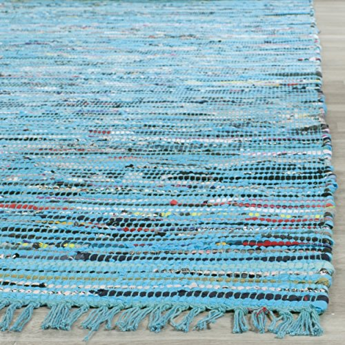 Safavieh Rag Rug Collection RAR125C Hand Woven Turquoise and Multi Cotton Area Rug (2'3