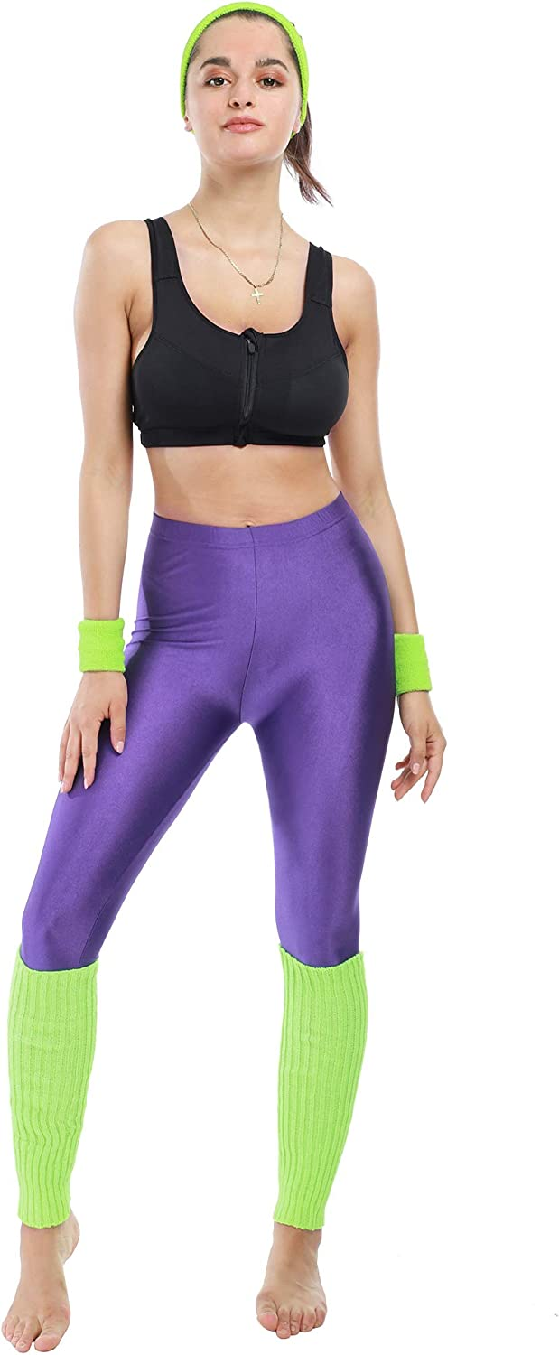 80s Workout Set for Women with Headband, Wristbands, Leggings and Leg Warmers. Many colours available.