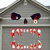 Hohomark Halloween Garage Door Decorations Stickers Halloween Monster Face Outdoor Decoration with Eyes Nose Fangs for Halloween Party Decorations Supplies