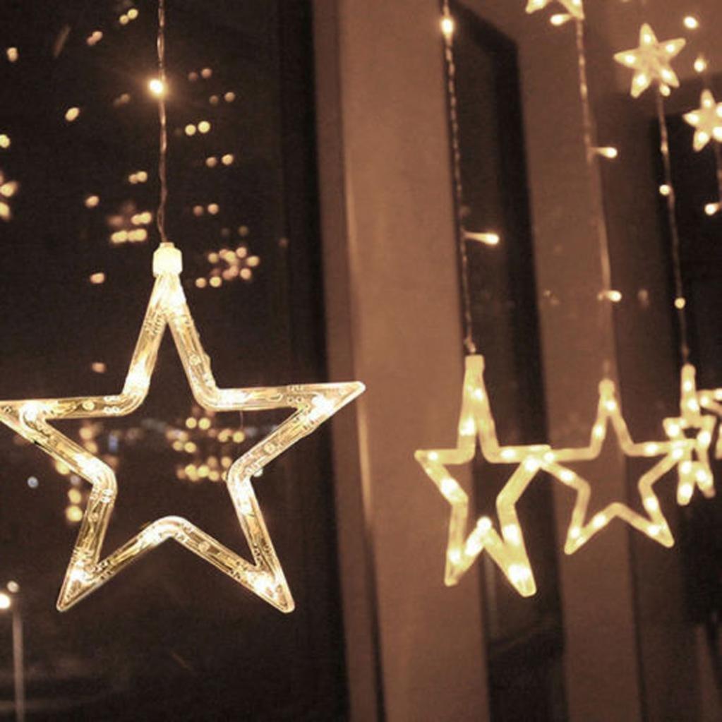 USB eight function remote control curtain light ice bar light curtain light 2.5M 138LED star Christmas wedding party fairy string light holiday (2.5M)