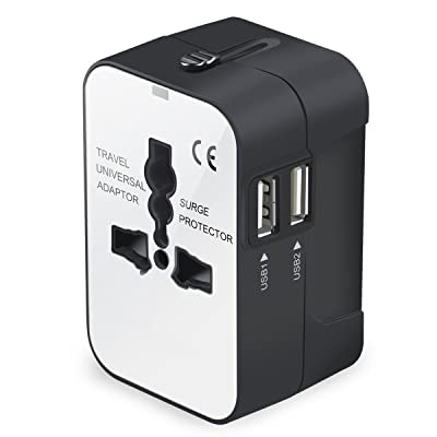 Travel Adapter, Universal International All-in-One Worldwide Travel Adaptor Wall Charger AC Power Plug Adapter Charger with Dual USB Port for USA UK EU AUS [5Bkhe2006103]