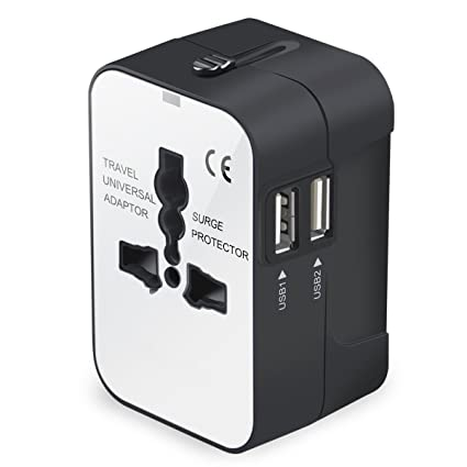 8cee42d3c14dc Travel Adapter, Universal International All-in-One Worldwide Travel Adaptor  Wall Charger AC Power Plug Adapter Charger with Dual USB Port for USA UK ...
