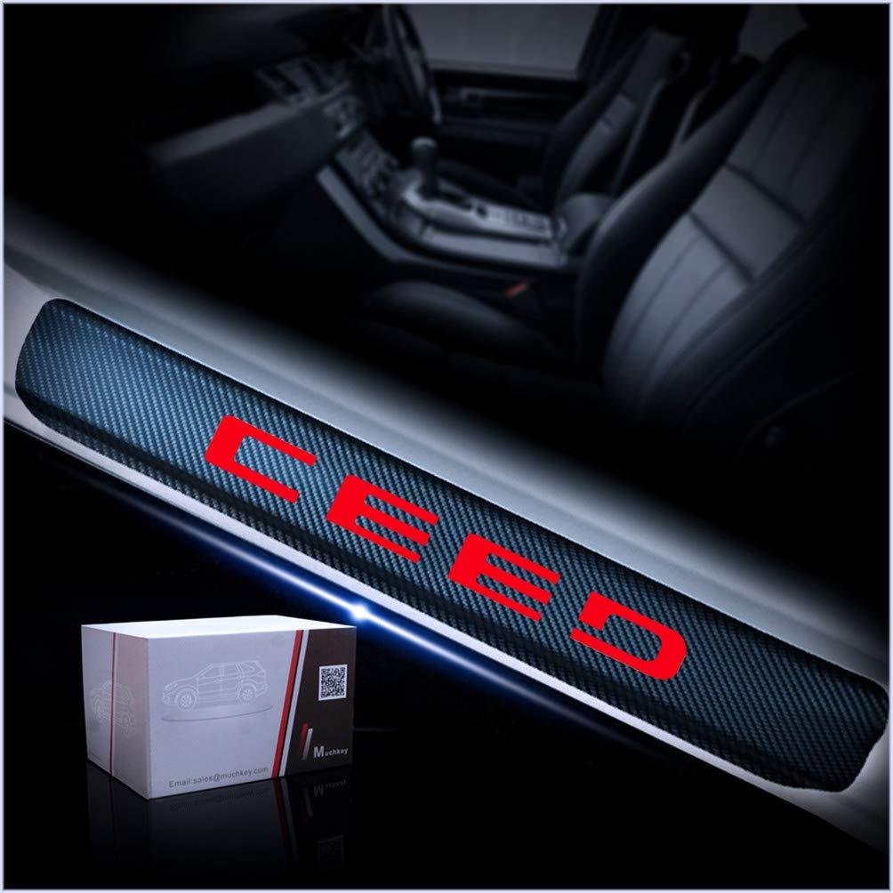 Einstiegsleisten Schutzfolie Kohlefaser mit hellen Aufklebern Blau F/ür Ceed Set!