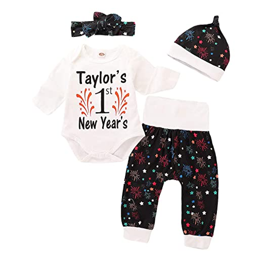 fd78af017 Amazon.com: 4Pcs Infant Toddler Boys New Year Outfit Set Baby Long Sleeve  Romper Tops + Firework Stars Pant Set with Hat + Headband: Clothing