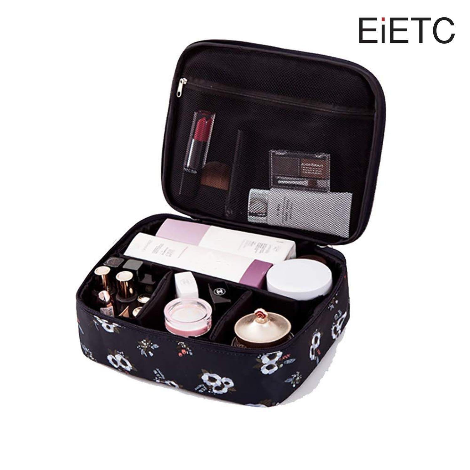 EIETC Portable Travel Makeup Cosmetic Bags Organizer Multifunction Case Toiletry Bags for Women black