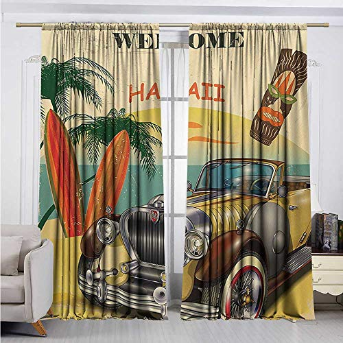 - DESPKON-HOME Room Darkening Curtains,Retro Welcome to Hawaii American Pop Art Print with Aged Car Palms Tribal Mask and Surfboards Darkening Darkening Curtains (72W x 72L inch,Multi)