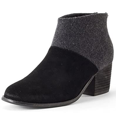 602c02e5112 Image Unavailable. Image not available for. Color  TOMS Leila Black Wool  Felt Booties 10006204 Women 6