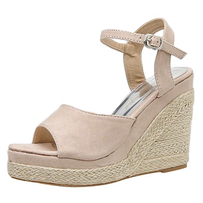 mejores zapatillas de deporte 15f57 7ab3a Mosstars Sandalias de cuña Mujer de Vestir Moda Mujer Cuñas ...