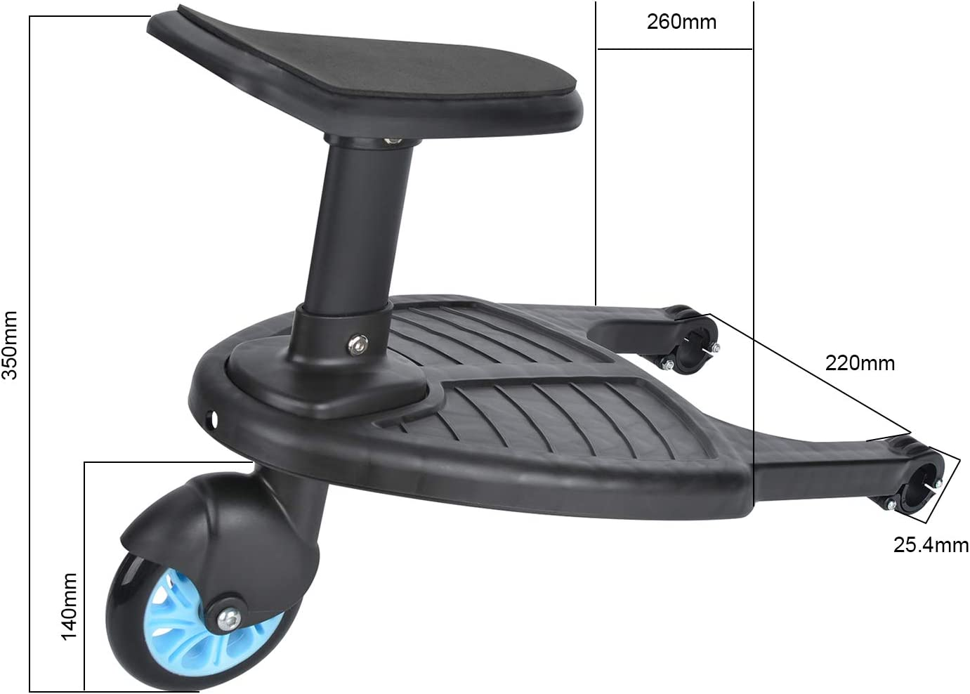 Blue Holds Children Up to 25kg Wheeled Buggy Board with Seat Baby Jogger Travel Pram Toddler Buggy Stroller Step Board Stand Child Kids Wheeled Pushchair Connector