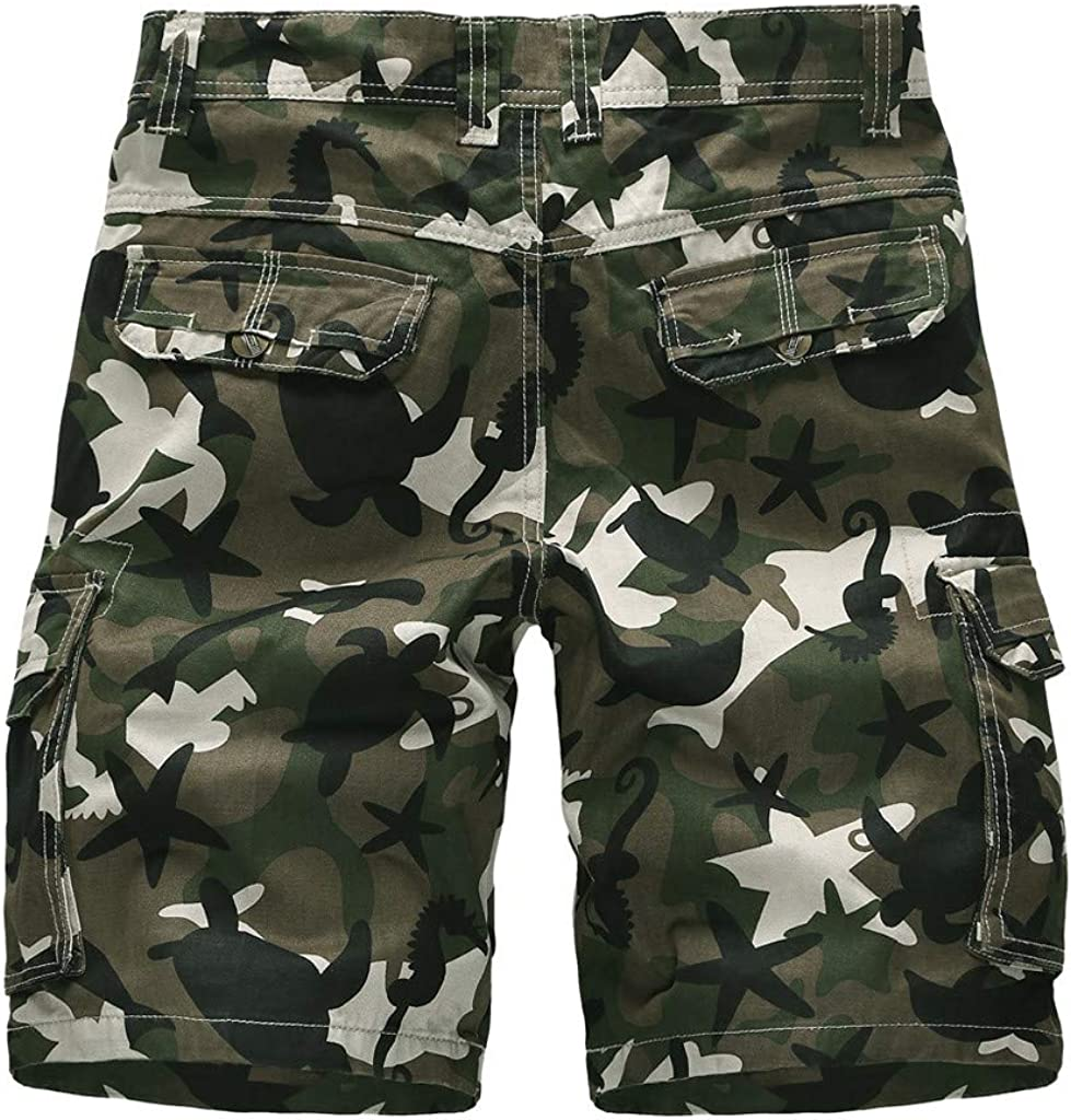 DIOMOR Casual Camo Relaxed Fit Drawstring Cargo Shorts for Men Fashion Outdoor Comfy Hiking Pants 9 Inseam Trunks