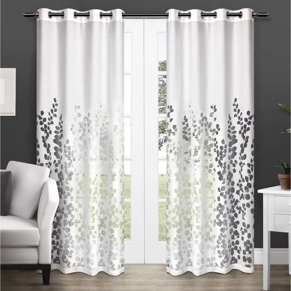 "Exclusive Home Curtains Wilshire Burnout Sheer Window Curtain Panel Pair with Grommet Top, 84"" Length, White, 2 Piece"